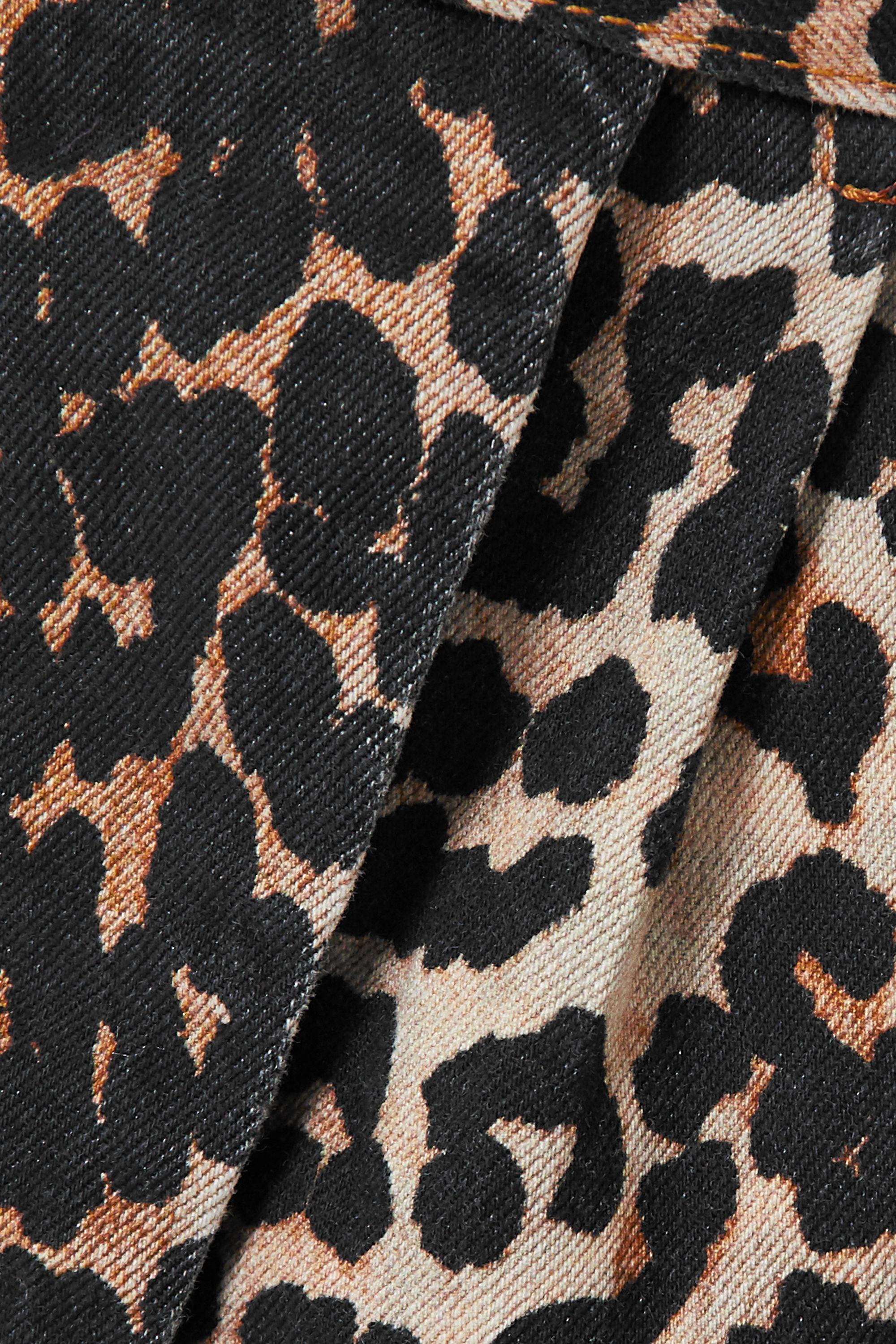 GANNI Midi-Wickelrock aus Denim mit Leopardenprint