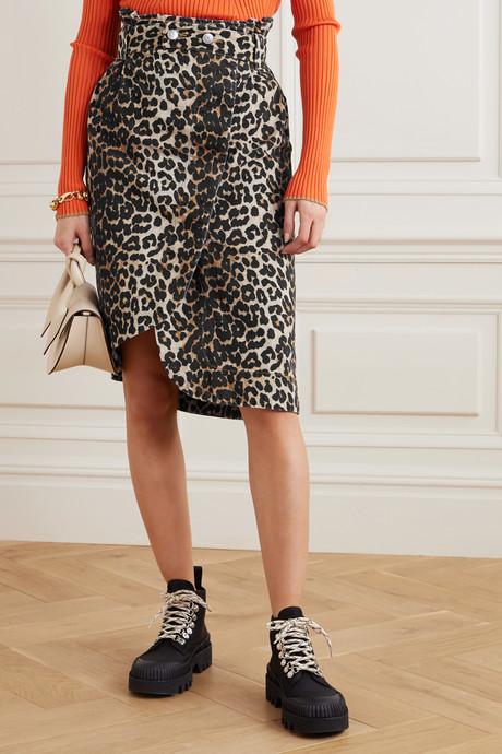 Leopard-print denim wrap midi skirt