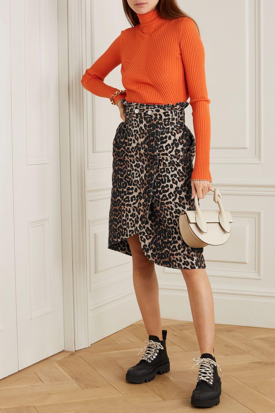 GANNI Leopard-print denim wrap midi skirt