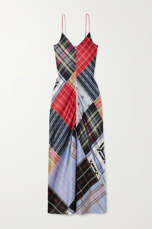 GANNI Patchwork printed silk-blend satin maxi dress