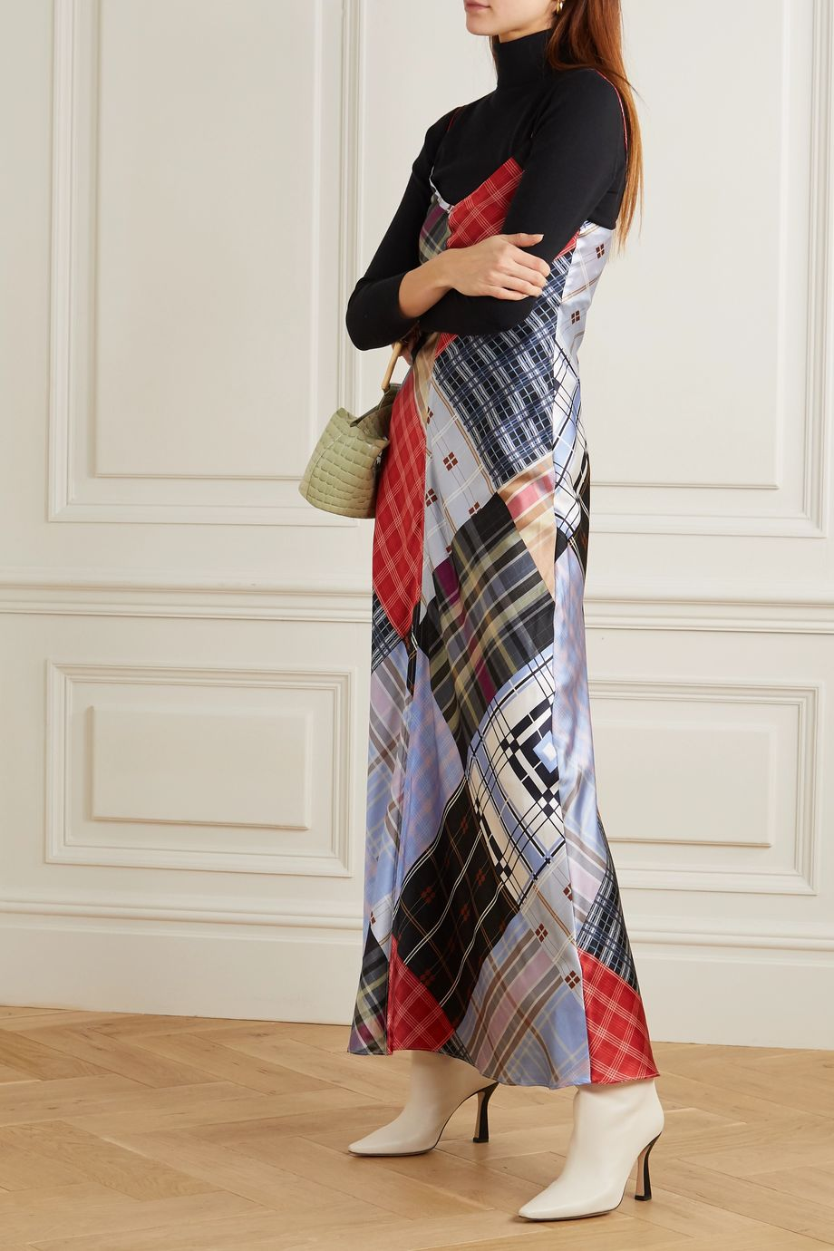 GANNI Patchwork printed silk-blend satin maxi dress