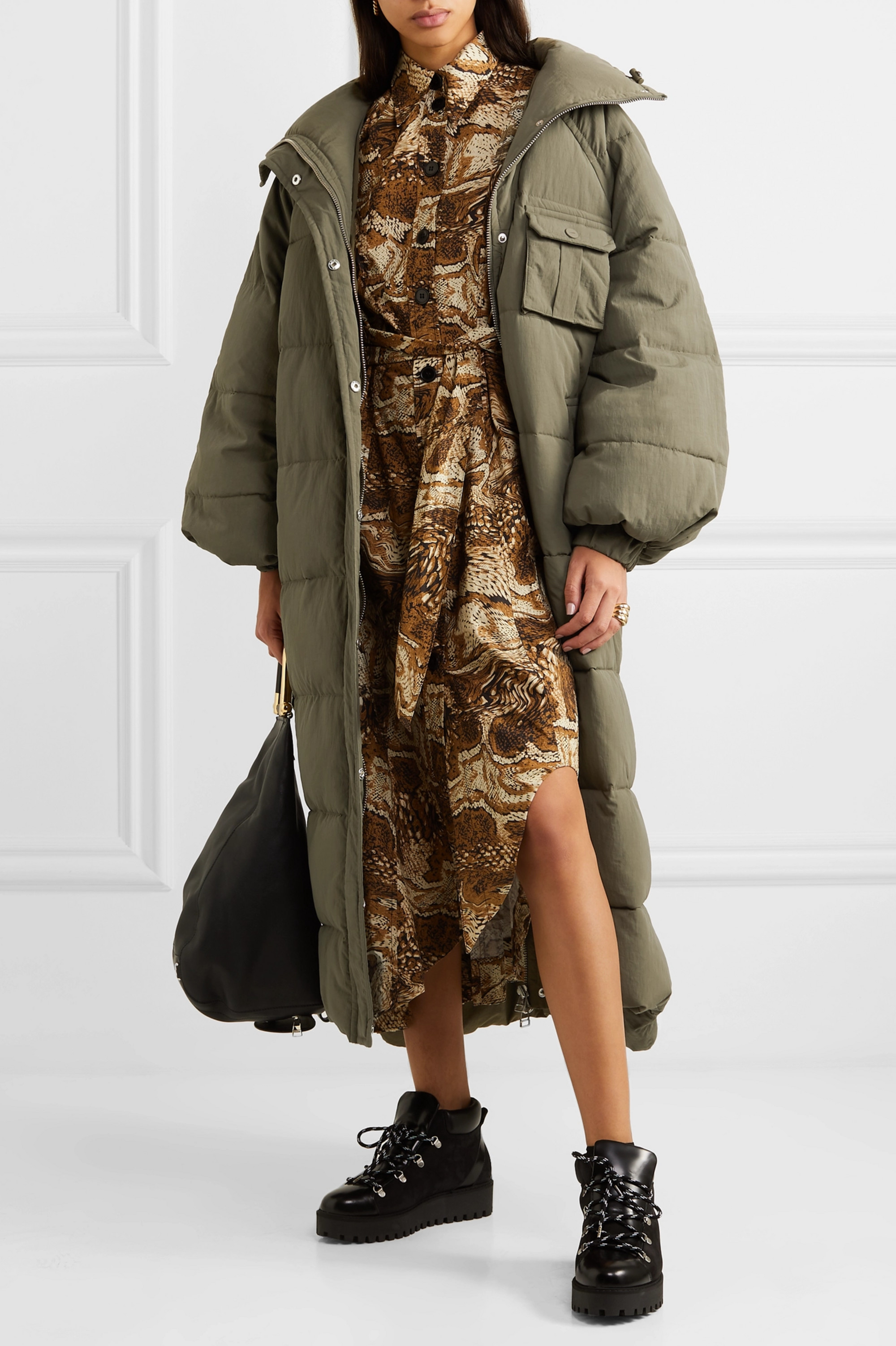 GANNI Oversized quilted shell coat