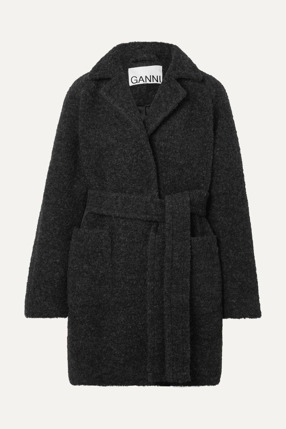 GANNI Belted wool-blend bouclé coat