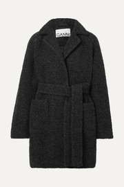 GANNI Belted wool-blend bouclé coat