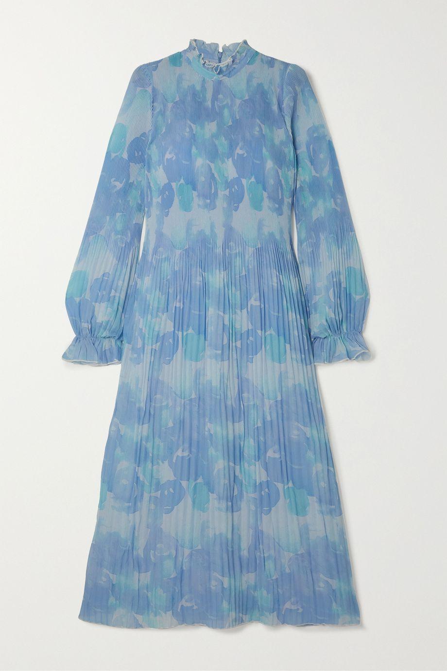 GANNI Ruffled pleated printed georgette midi dress