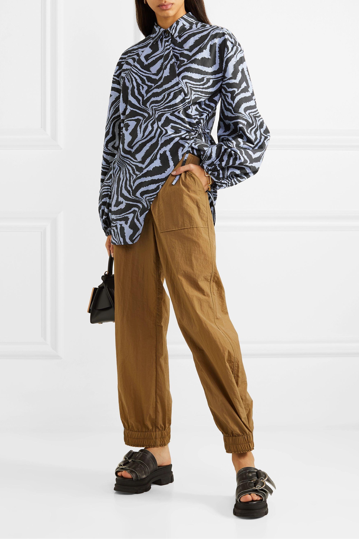 GANNI Tiger-print cotton-poplin wrap blouse