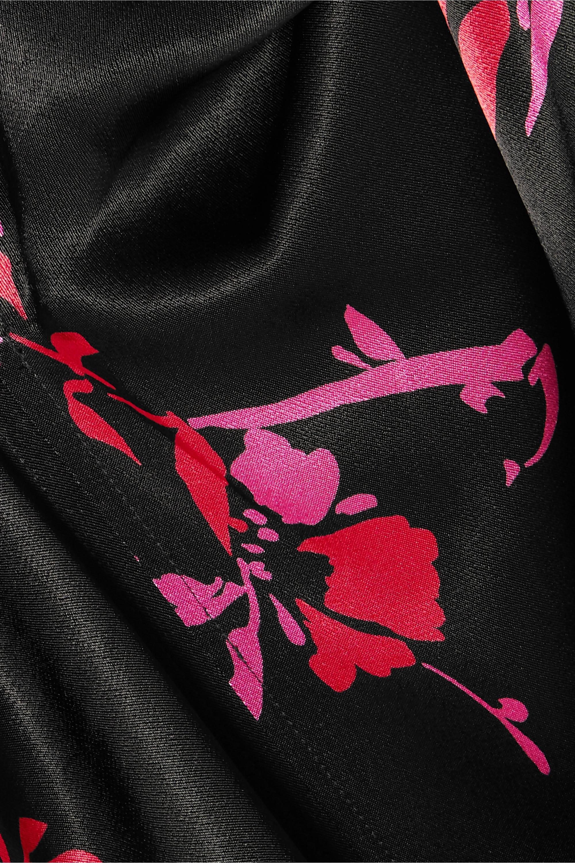 GANNI Robe midi en satin à imprimé fleuri