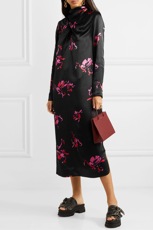 GANNI Floral-print satin midi dress