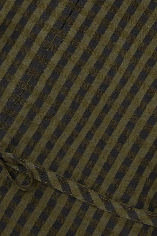 GANNI Blouse en crépon métallisé à carreaux et à ceinture