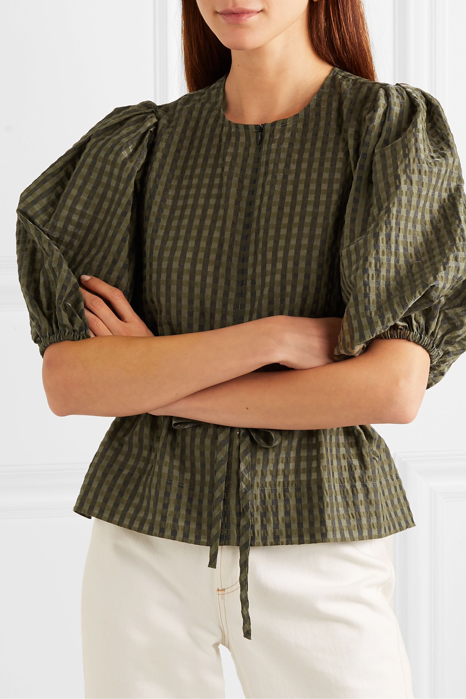 GANNI Belted metallic checked seersucker blouse