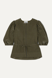 GANNI Belted metallic checked seersucker blouse