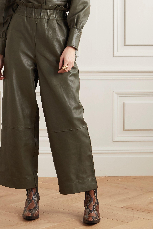 GANNI Leather wide-leg pants