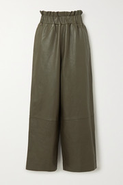 GANNI Leather wide-leg pants