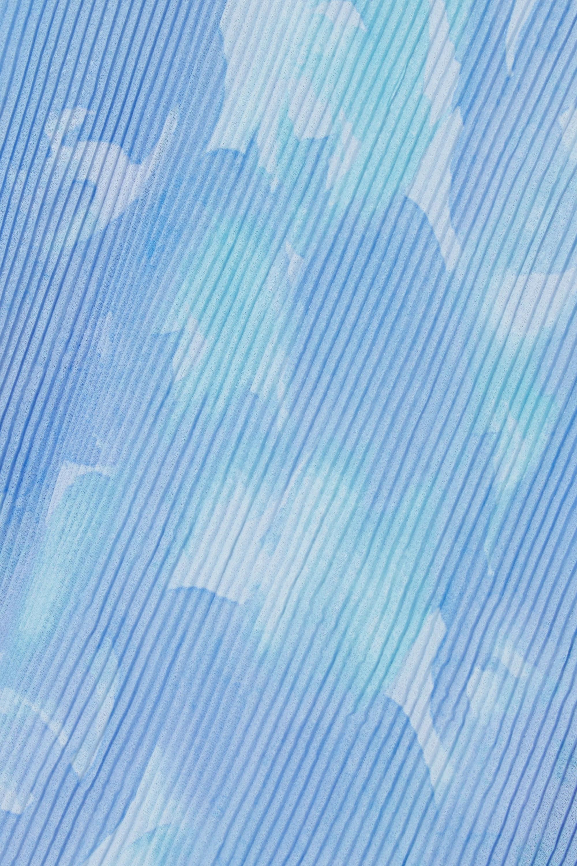 GANNI Oberteil aus plissiertem Georgette mit Blumenprint und Rüschen