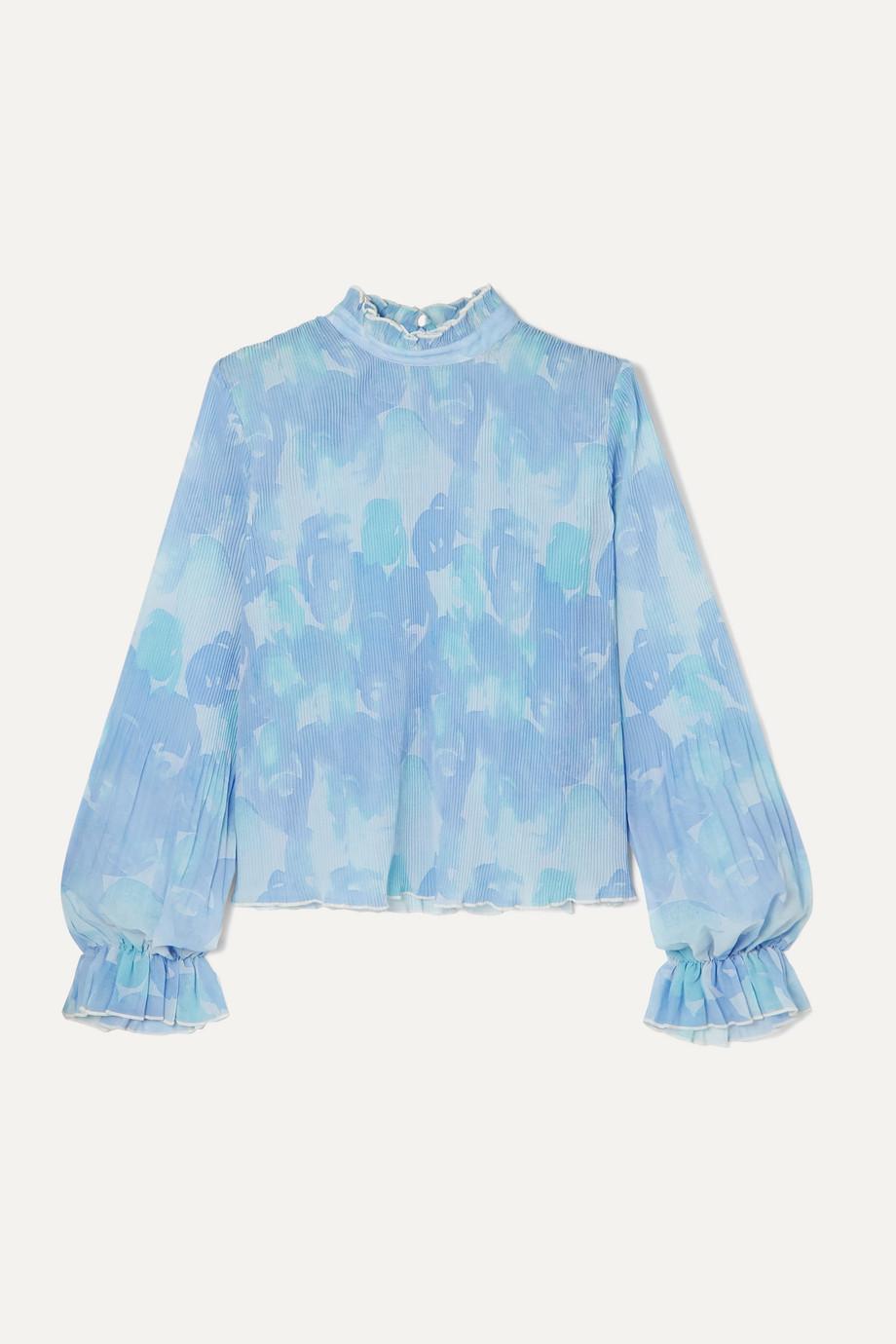 GANNI Ruffled floral-print plissé-georgette top