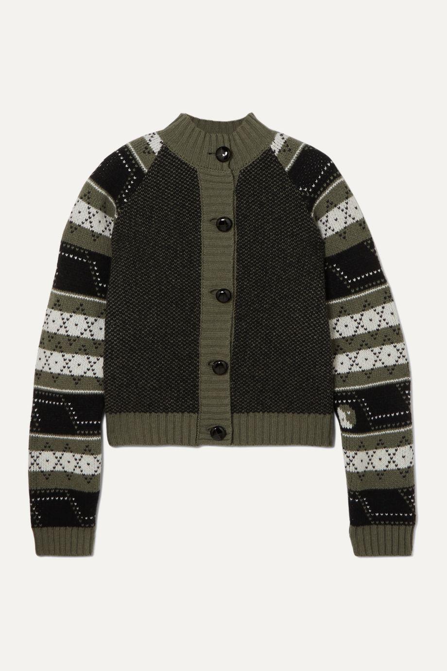GANNI Striped Fair Isle wool-blend cardigan