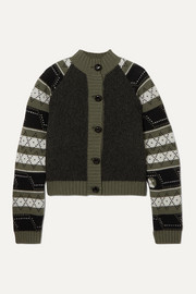 GANNI Striped Fair Isle wool-blend cardigan