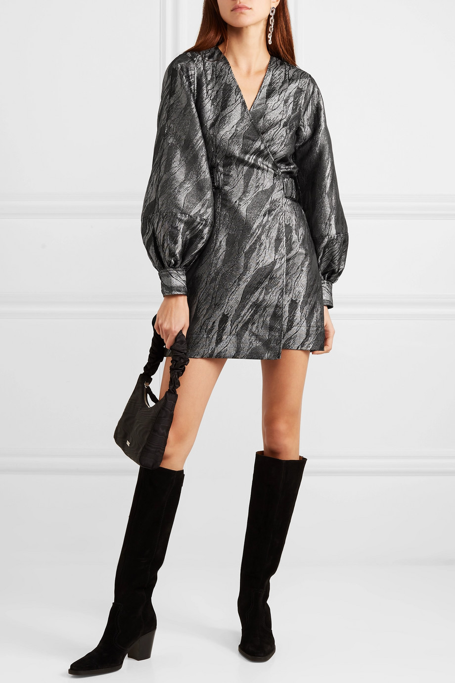 GANNI Metallic jacquard wrap mini dress