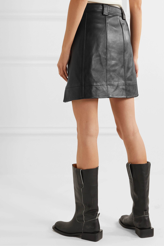 GANNI Asymmetric leather wrap mini skirt