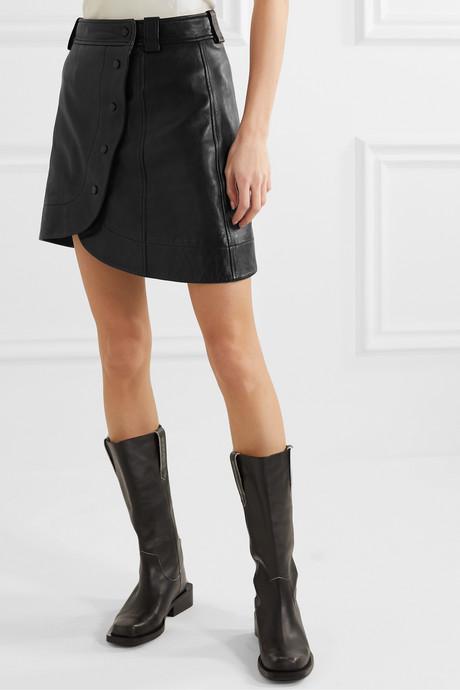 Asymmetric leather wrap mini skirt