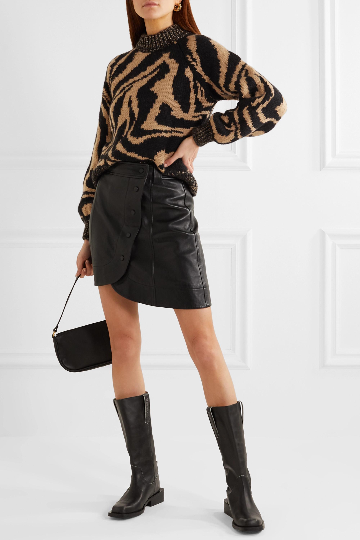 Neutral Jacquard wool and alpaca-blend sweater   GANNI   NET-A-PORTER