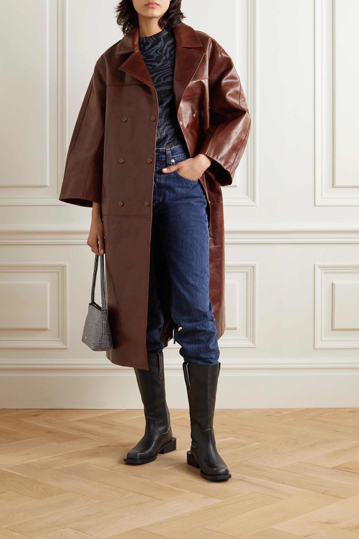 GANNI Oversized-Mantel aus Leder