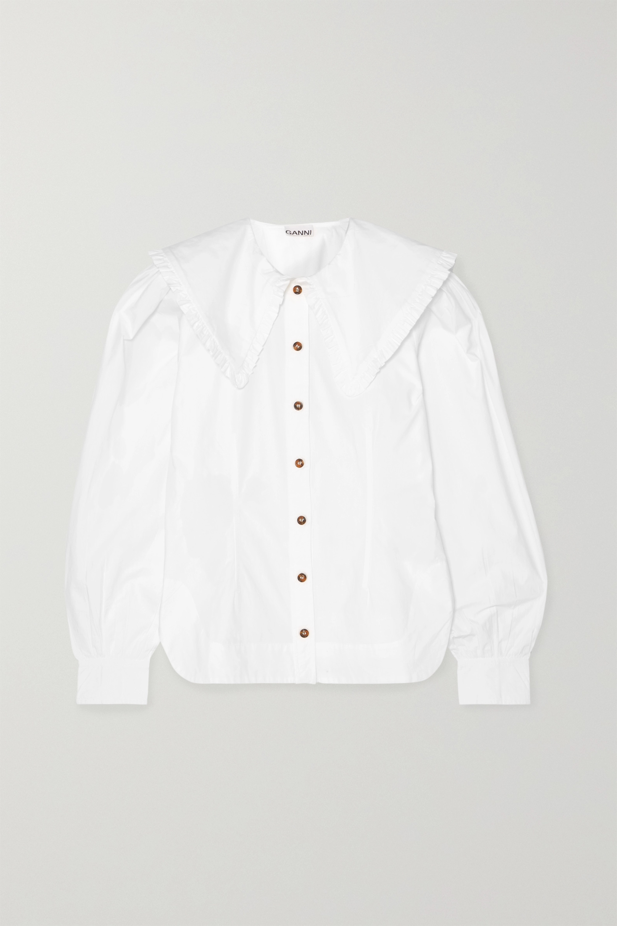 GANNI Ruffle-trimmed cotton-poplin blouse