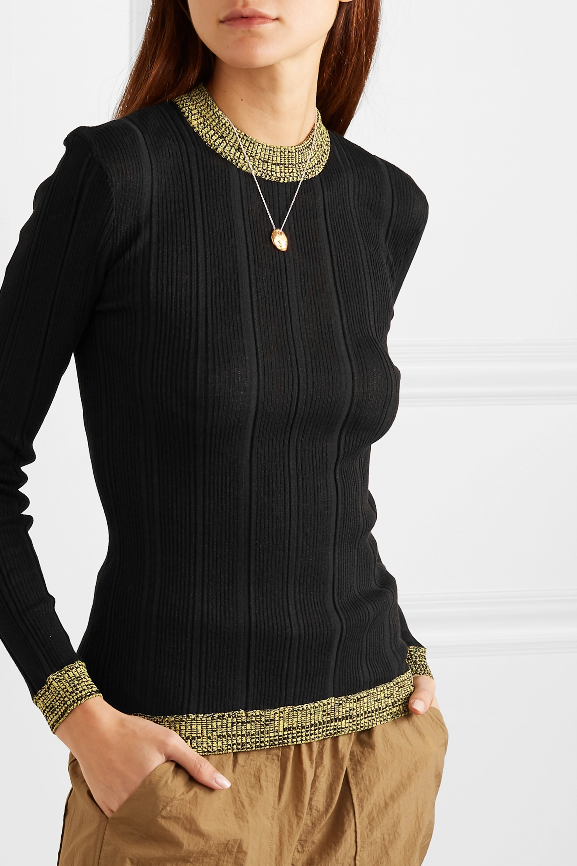GANNI Two-tone ribbed cotton-blend sweater