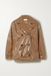 GANNI Double-breasted faux patent-leather jacket