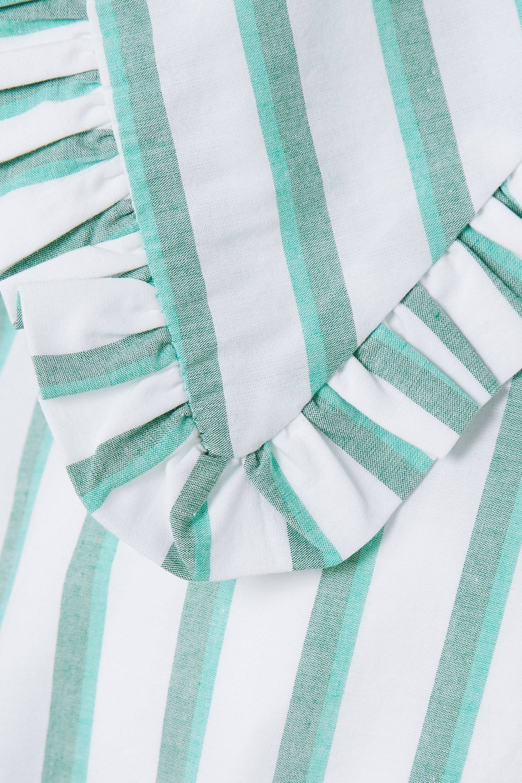 GANNI Feathery striped cotton-poplin blouse