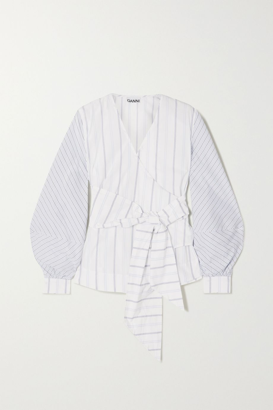 GANNI Striped cotton-poplin wrap blouse