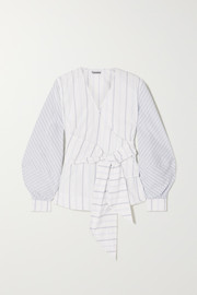 Striped cotton-poplin wrap blouse