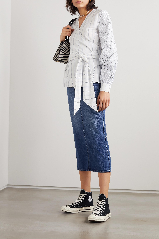 GANNI Striped cotton-poplin wrap blouse