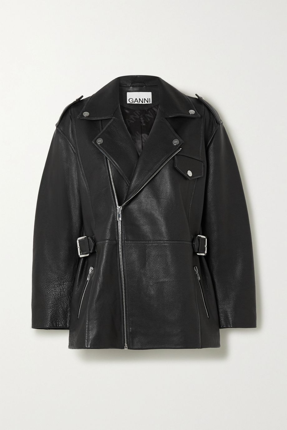 GANNI Oversized textured-leather biker jacket
