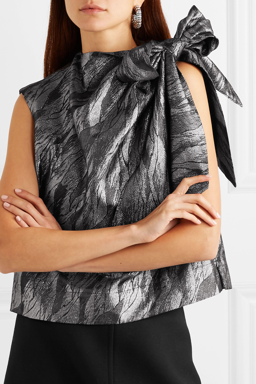 GANNI Bow-detailed draped metallic jacquard top