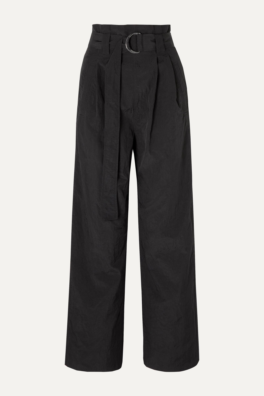 GANNI Belted tech-shell straight-leg pants