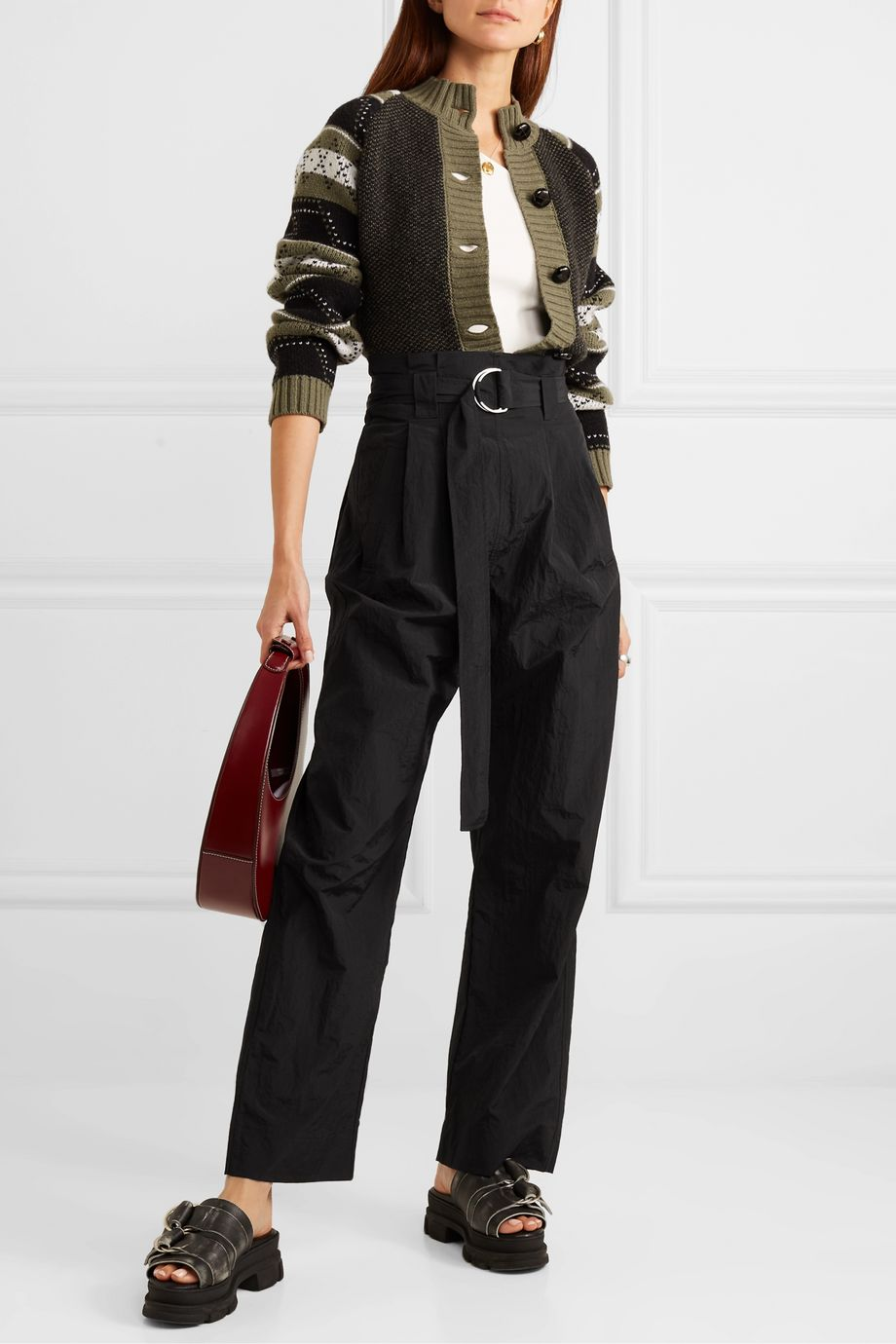 GANNI Belted tech-shell straight-leg pants