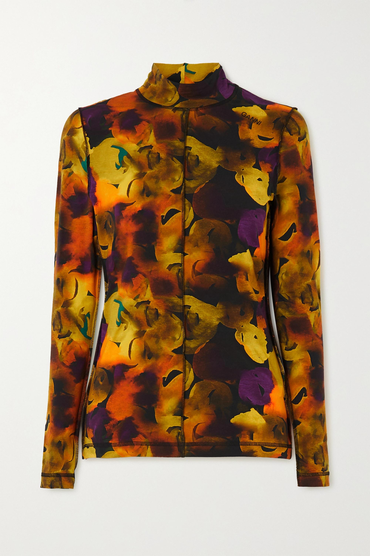 GANNI Printed stretch-cotton jersey turtleneck top