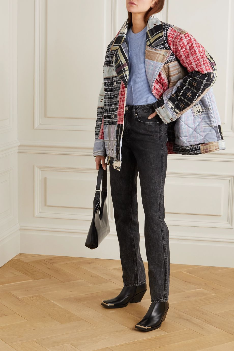 GANNI Oversized double-breasted quilted patchwork denim jacket