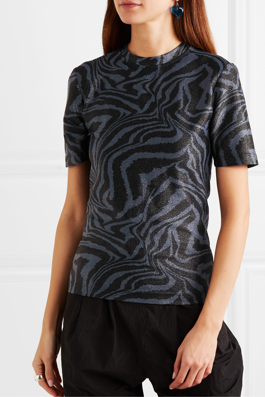 GANNI Metallic tiger-print stretch-jersey top