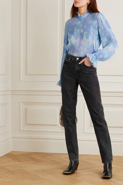 GANNI 高腰直筒牛仔裤