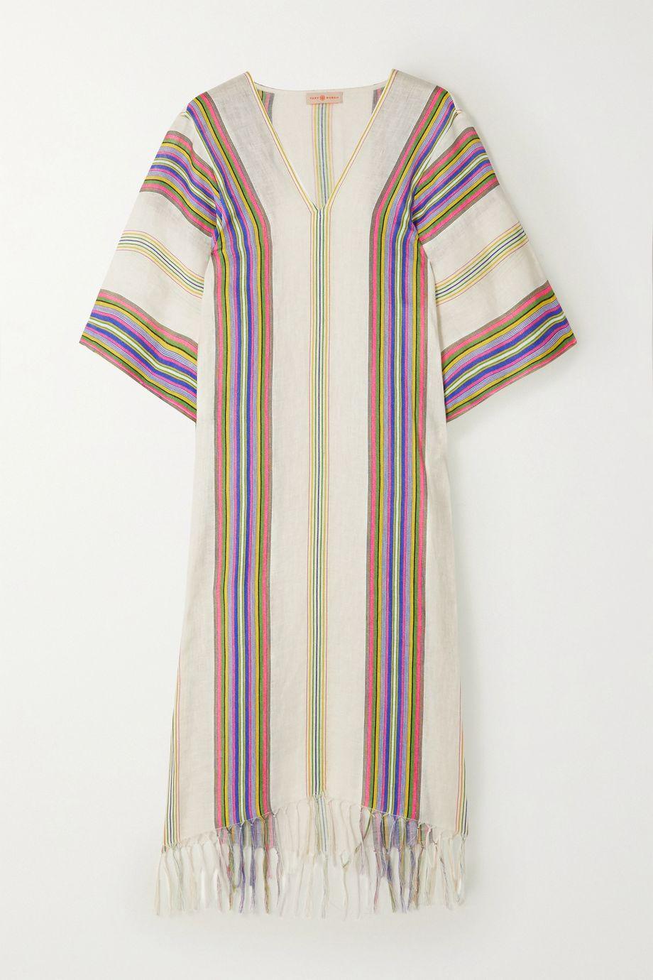 Tory Burch Fringed striped linen kaftan