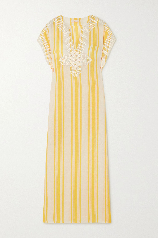 Tory Burch Awning appliquéd striped linen-gauze kaftan