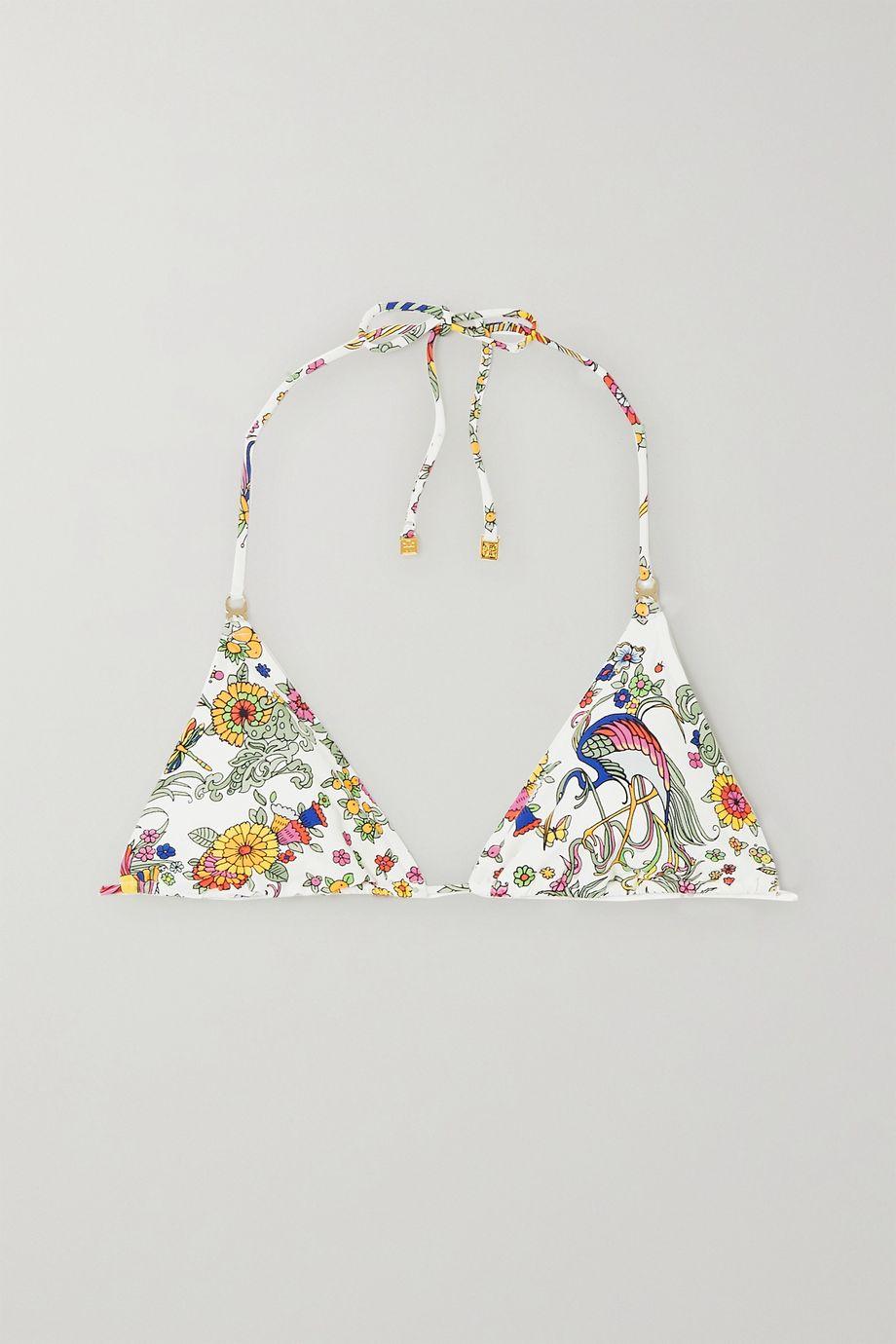 Tory Burch Gemini Link printed triangle bikini top