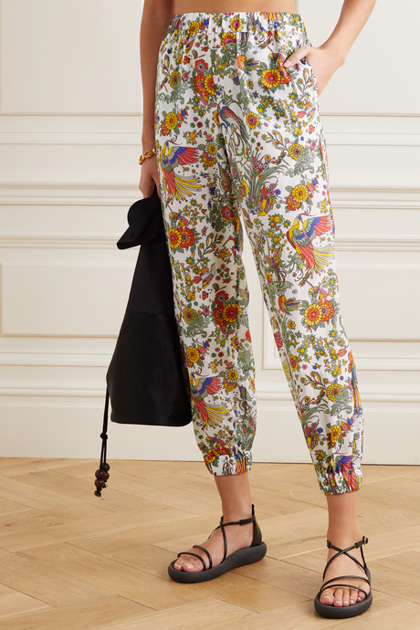 Printed cotton and silk-blend voile tapered pants