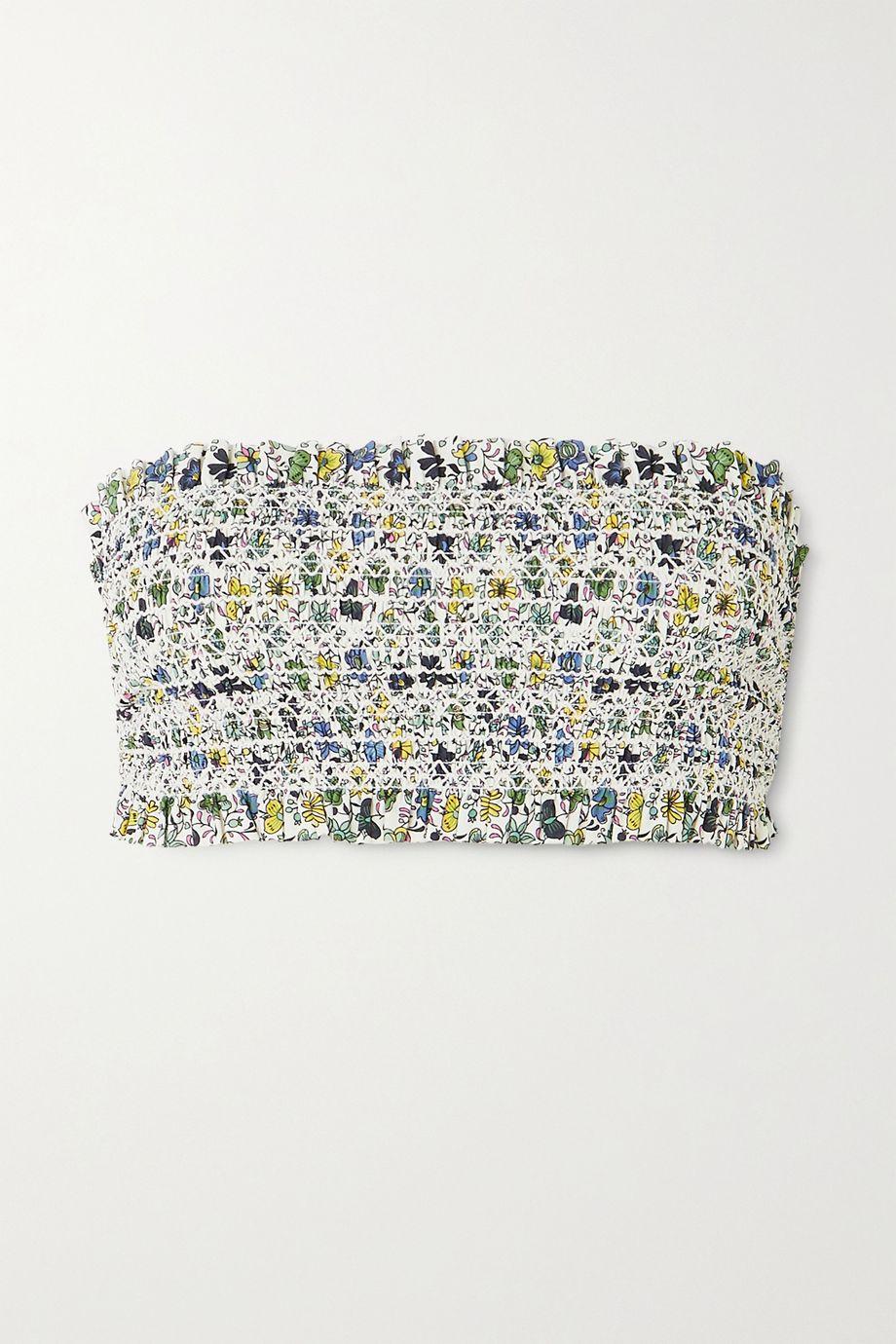 Tory Burch Costa shirred floral-print bandeau bikini top