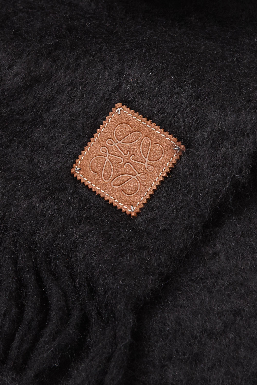 Loewe Écharpe en mohair mélangé à franges et à finitions en cuir