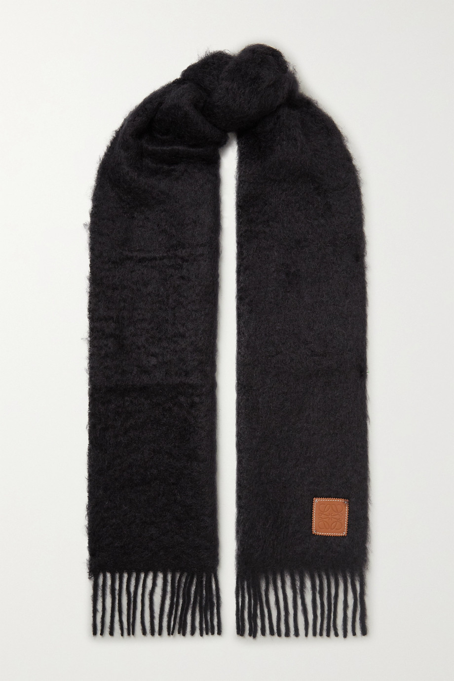 Loewe Fringed leather-trimmed mohair-blend scarf