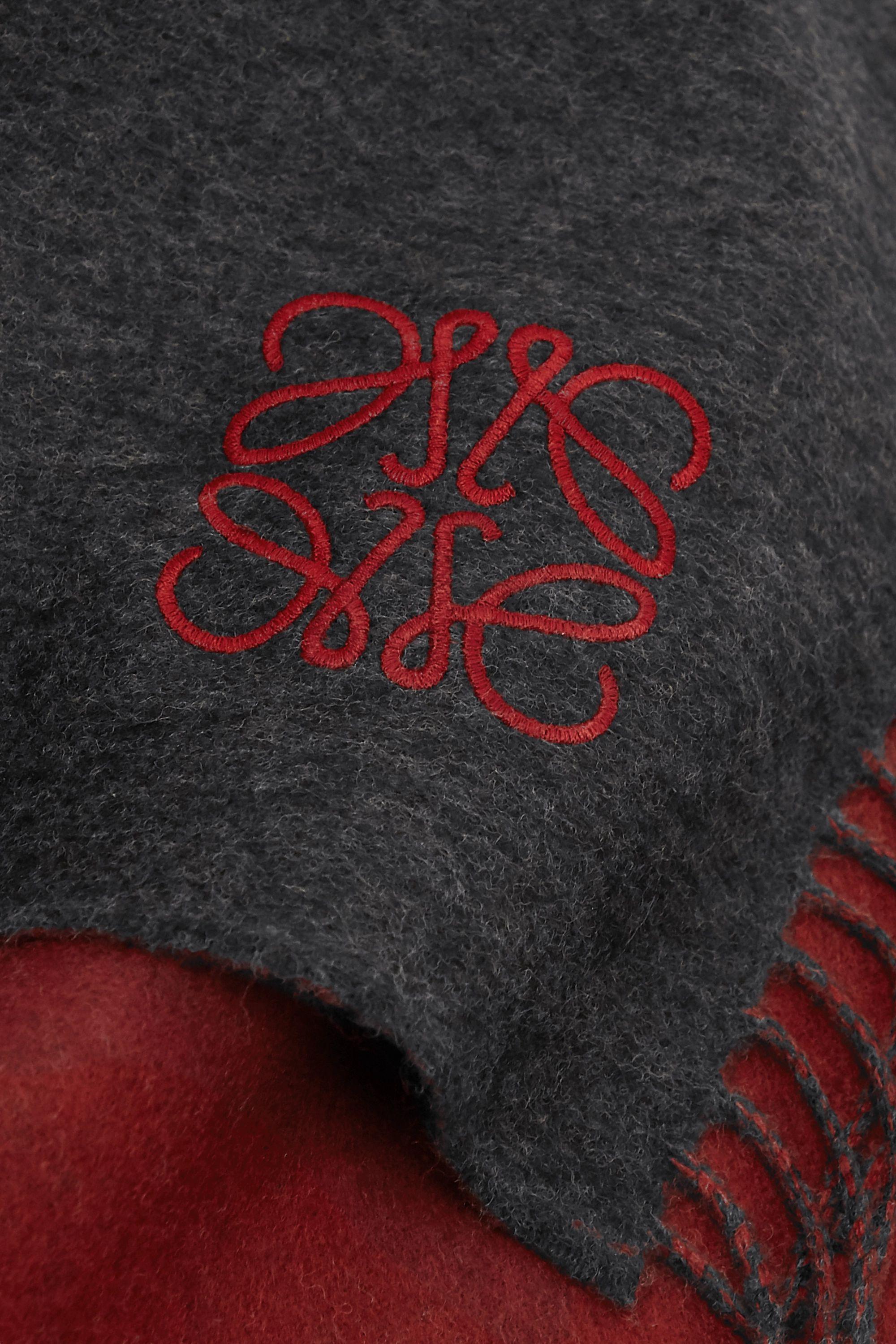 Loewe Écharpe en laine et cachemire mélangés bicolores à borderie et à franges