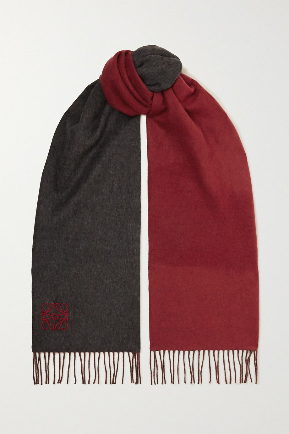 Loewe Fringed embroidered two-tone wool and cashmere-blend scarf
